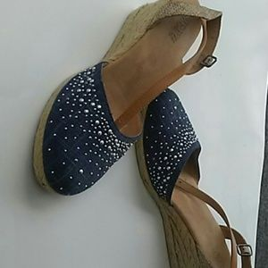 Blue jean stud wedge sandle